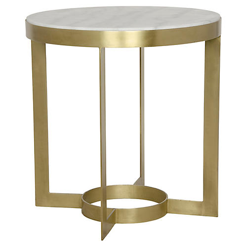 Parker Side Table, Antiqued Brass/White