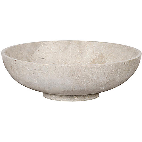 "15"" Marble Decorative Bowl, Off-White"