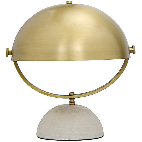 Moon Table Lamp, Brass/Gray