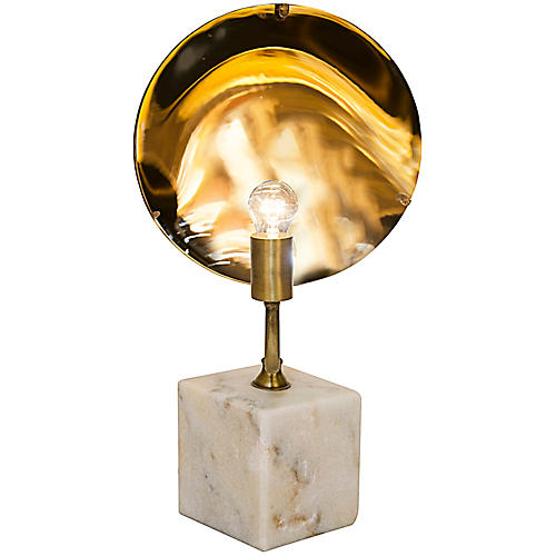 Reflect Marble Table Lamp, Metallic Brass/White