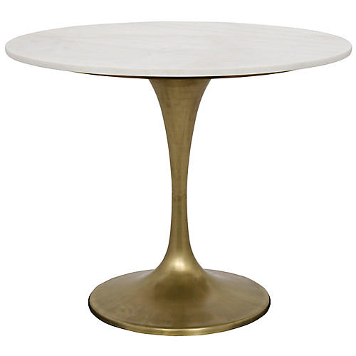 Laredo Dining Table, White/Bronze