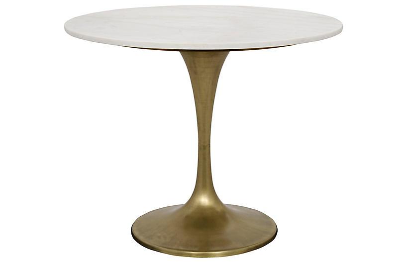 Laredo Dining Table, White/Bronze