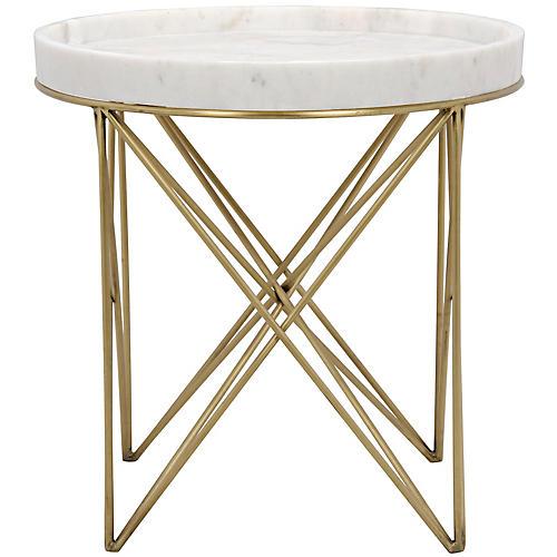 Prisma Side Table, White/Gold