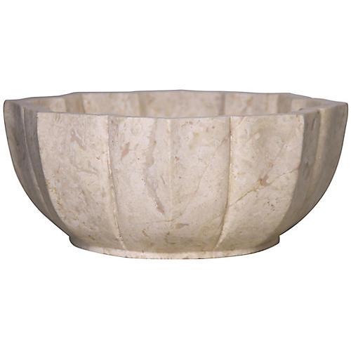 "12"" Kamila Decorative Bowl, White"