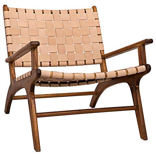 Kamara Accent Chair, Beige Leather