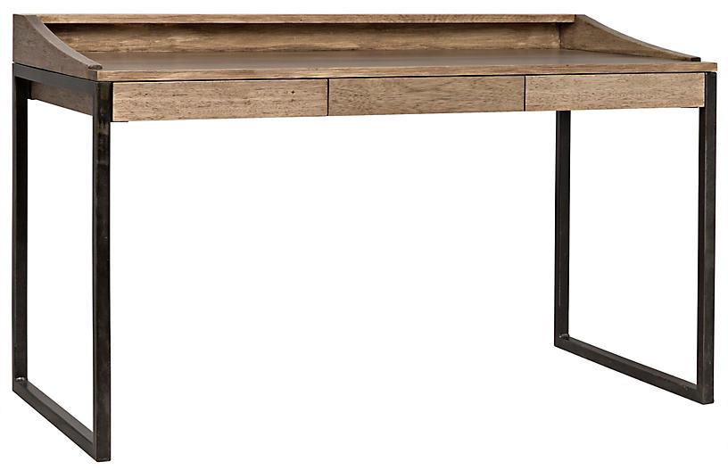 Ling Writing Desk - Washed Walnut - Noir