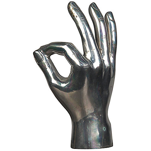 "9"" OK Sign Hand Figurine, Silver"