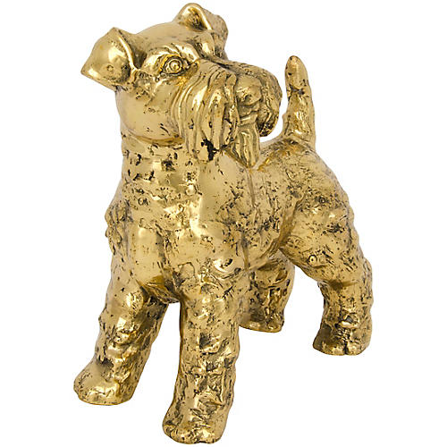 "8"" Schnauzer Large Figurine, Brass"