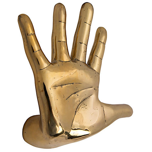 "9"" Hand-On-Wall Figurine, Brass"