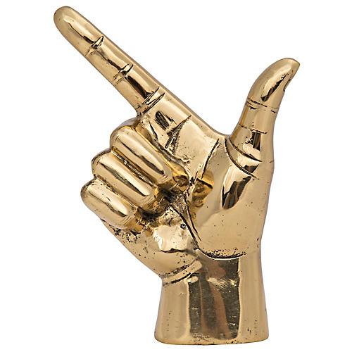 """8"""" That Way Hand Figurine, Brass"""