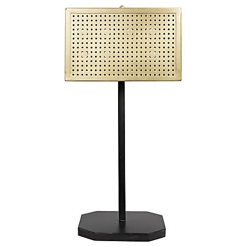 Lounge Table Lamp, Antiqued Brass/Black