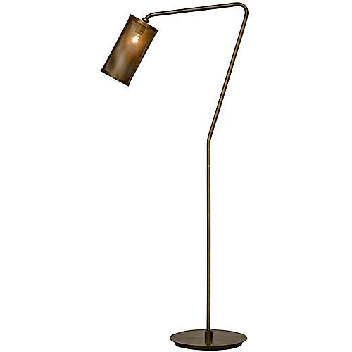 QS Pisa Floor Lamp, Antiqued Brass