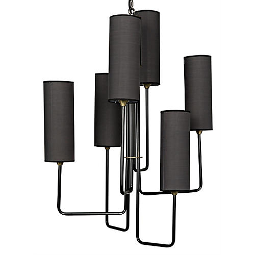 Cylindrical 6-Light Chandelier, Gray