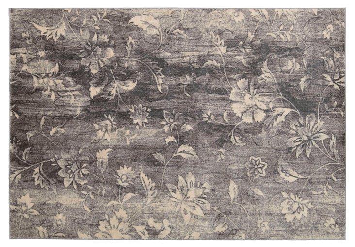 Laurel Rug, Charcoal/Ivory