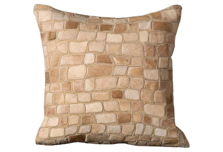 Leather & Hide 20x20 Pillow, Beige