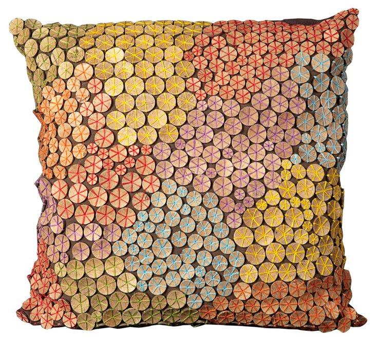 Dotty 20x20 Pillow, Brown/Multi