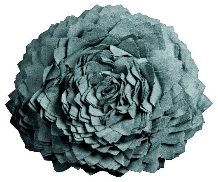 Flower Round Pillow, Sky Blue