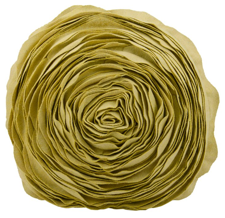 "Blossom 16"" Pillow, Yellow Green"