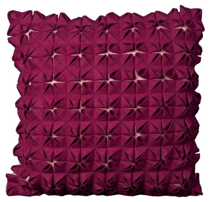 Origami 20x20 Pillow, Dark Fuchsia