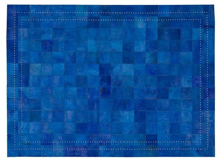 4'x6' Flynn Leather Rug, Bright Blue