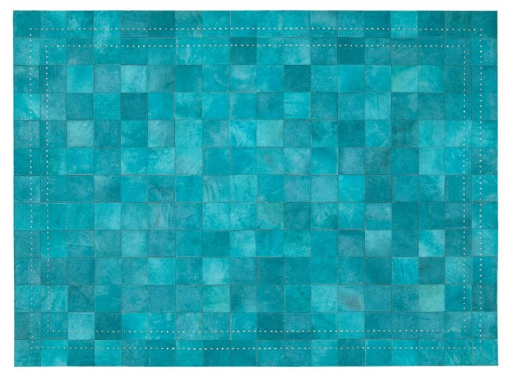 4'x6' Flynn Leather Rug, Turquoise