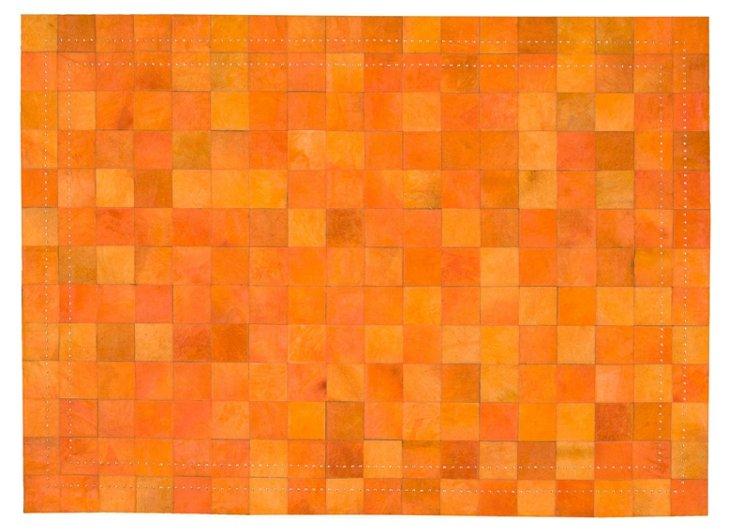 4'x6' Flynn Leather Rug, Tangerine