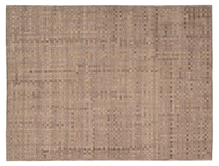 Ash Leather-Blend Rug, Chestnut
