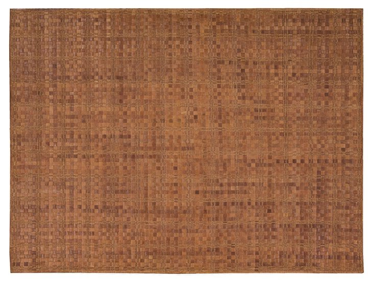 Ash Leather-Blend Rug, Brown