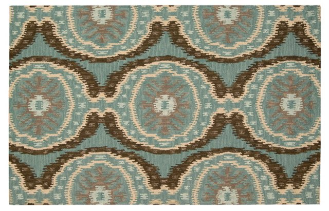 "3'6""x5'6"" Rogers Rug, Cocoa/Blue"