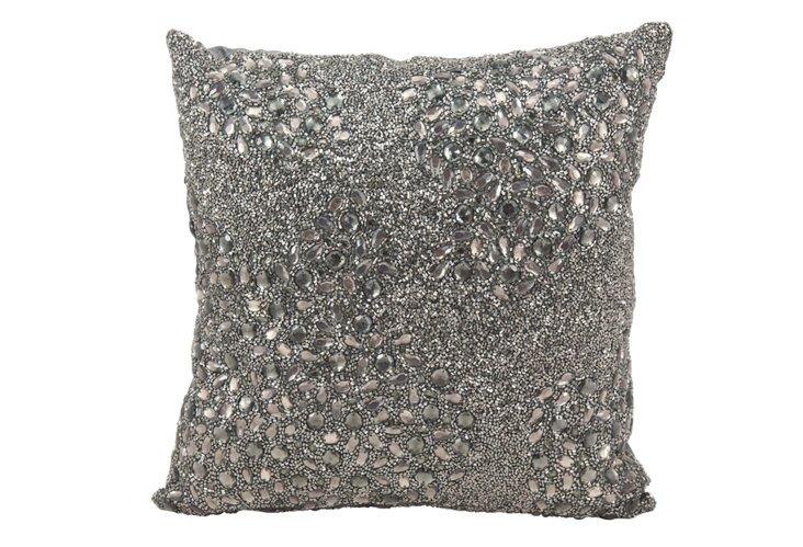 Jewel 16x16 Pillow, Pewter