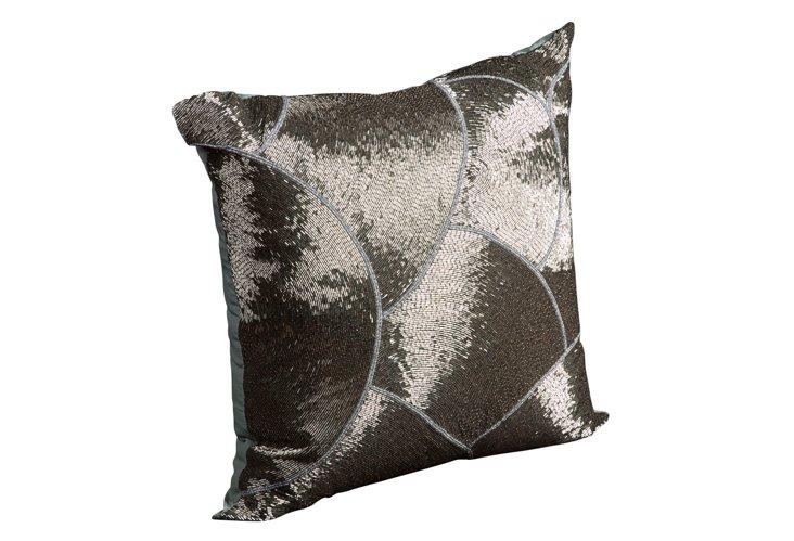 Sequin 20x20 Pillow, Steel/Blue