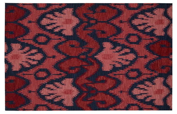"""5'6""""x7'5"""" Siam Rug, Navy/Red"""