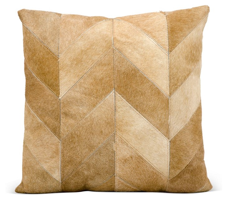 Kathy 20x20 Hide Pillow, Beige