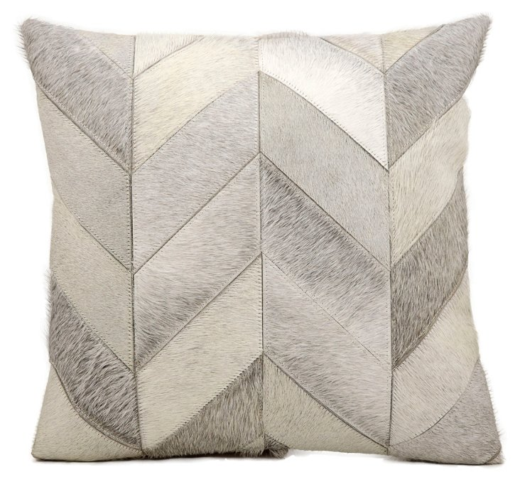 Kathy 20x20 Hide Pillow, Gray