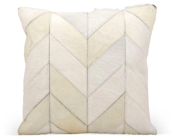 Chevron 20x20 Leather Pillow, White