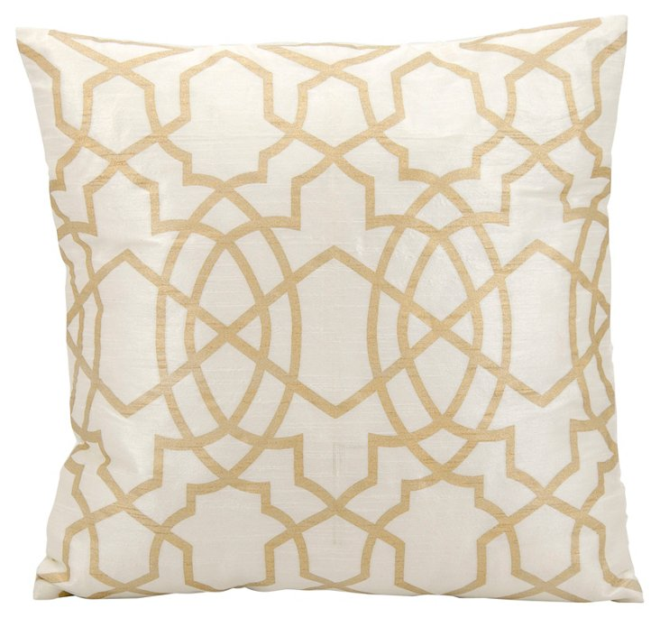 Amini 18x18 Pillow, Gold/Ivory