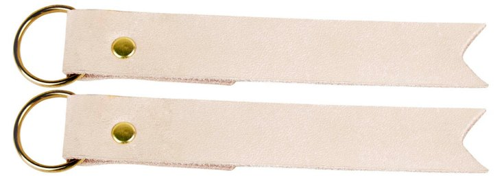 S/2 Leather Key Fobs, Nude