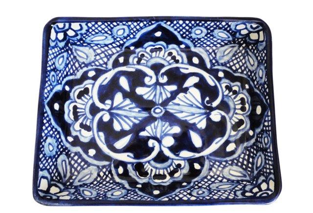Talavera Snack Tray w/ Bowl, Blue/White