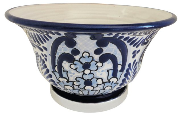 Bowl w/ Pewter Base, Blue/White