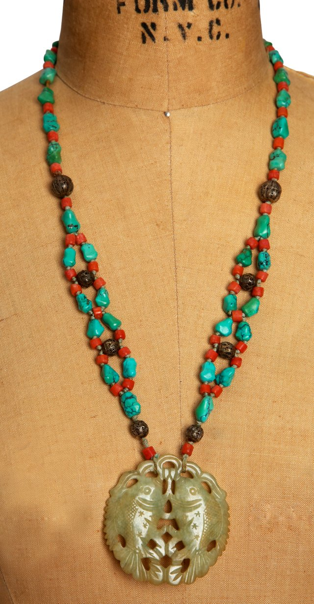 Turquoise, Coral & Silver Bead Necklace