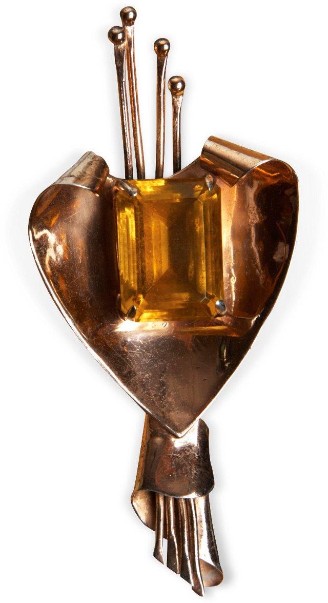 Retro Gold-Plate Pin w/ Gold Stone