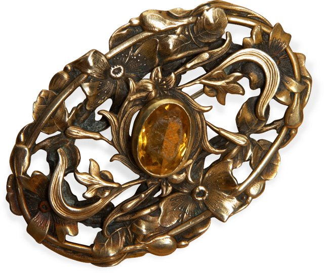 Victorian Brass Floral Pin w/ Gold Stone