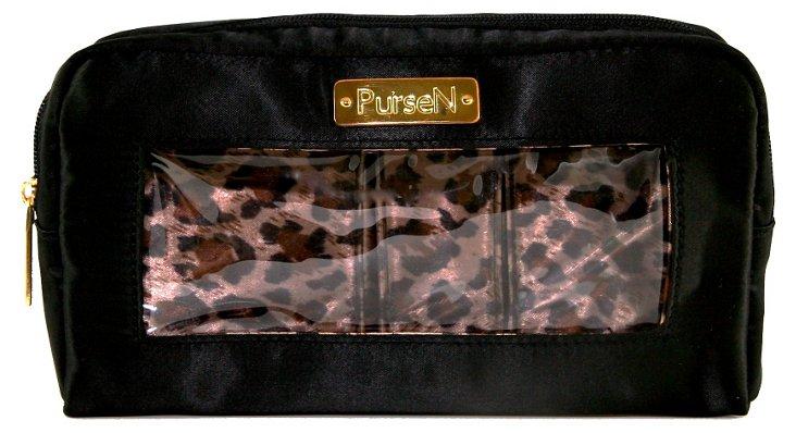 Leopard Make-Up Case, Black