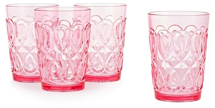 S/4 Swirly Embossed Tumblers, Pink