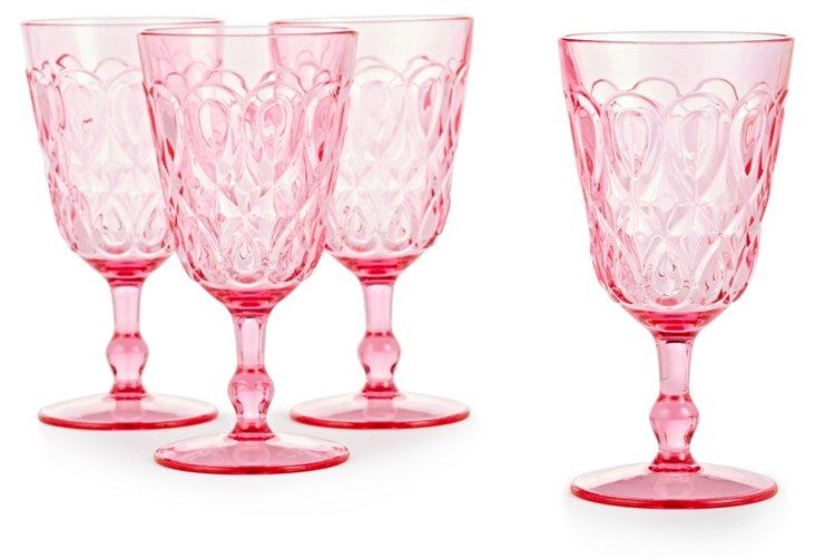 S/4 Swirly Embossed Wineglasses, Pink