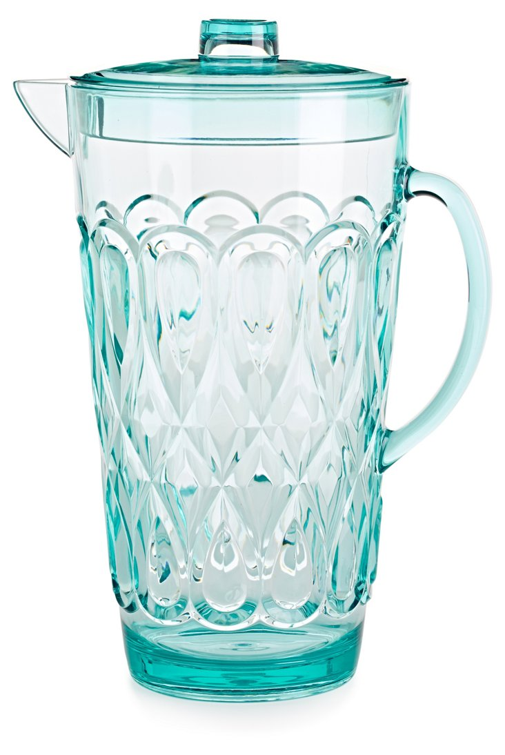 Large Swirly Embossed Jug, Mint