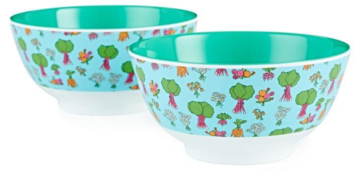 S/2 Two-Tone Melamine Bowls, Rhubarb