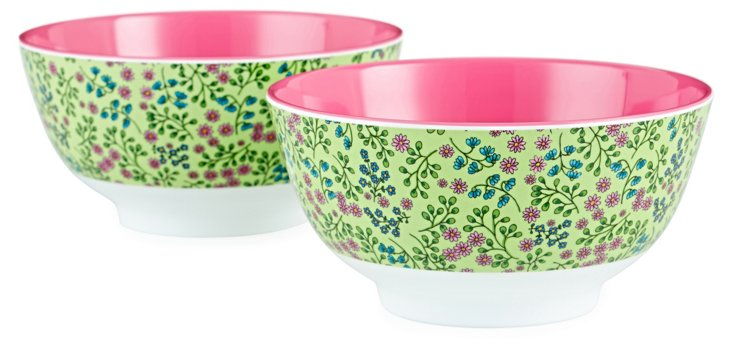 S/2 Two-Tone Melamine Bowls, Flower
