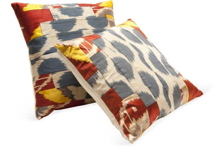 Silk Ikat Pillows, Pair II