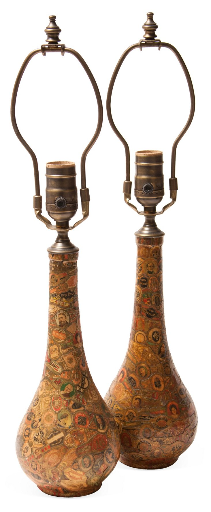 Vintage Cigar Label Lamps, Pair